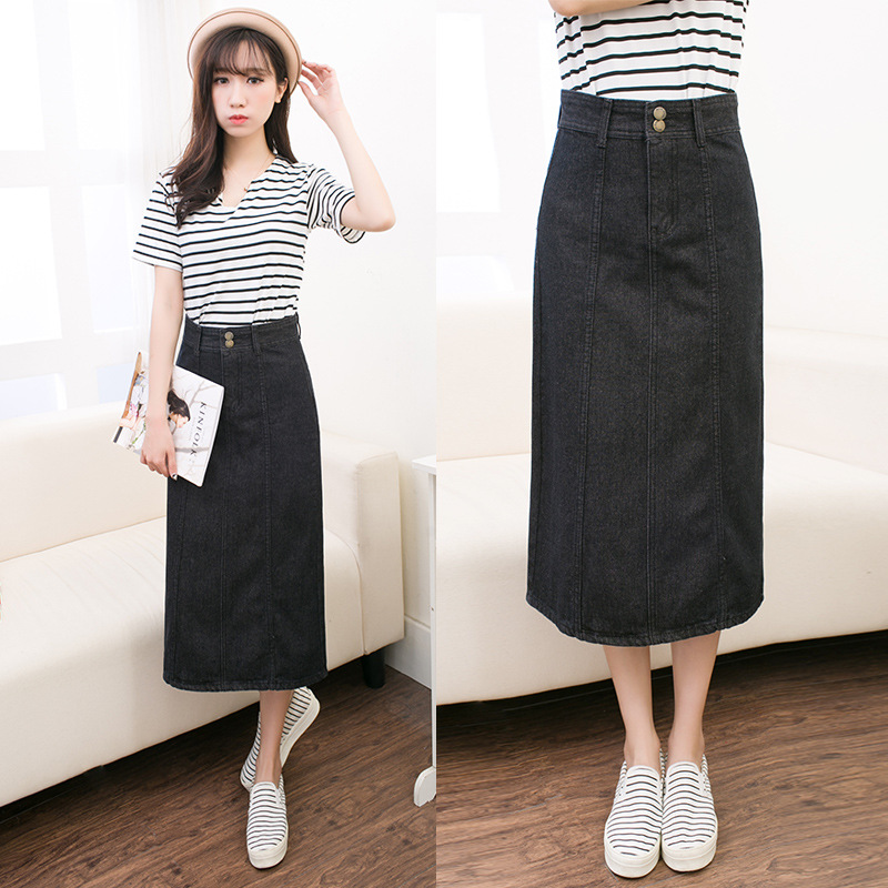 Online Buy Wholesale long black denim skirts from China long black ...