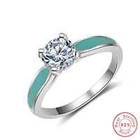 Real 100 925 Sterling Silver Ring Wholesale Colour Enamels Inlay 3 Carat SONA Simulation CZ Wedding