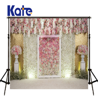 KATE Photography Background 5x7ft Wedding Background Pink Flower Wall Backdrop White Floor Background For Photocall Wedding
