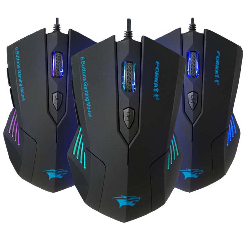 FORKA Silent Click 6 Buttons Wired Gaming Mouse USB Mute LED Optical Cable Ergonomic Computer Mouse Mice for PC Laptop Gamer imice gaming mouse custom computer mouse 3200cpi 7 buttons mouse game ergonomic usb optical wired gaming mouse for pc laptop