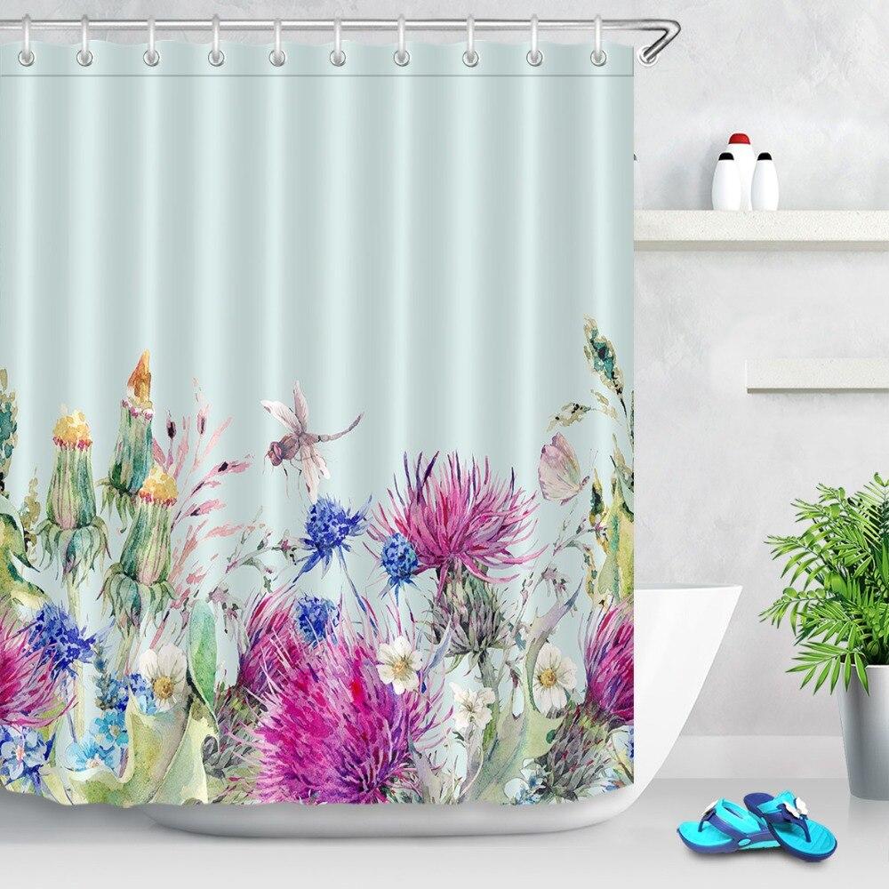 Unicornio /& Rosa Flor Impermeable Tejido de poliéster Conjunto de Baño Cortina de ducha
