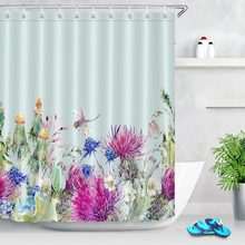 Watercolor Cactus Flower Leaves Dragonfly Waterproof Shower Curtain Polyester Fabric Bath Home Decor Bathroom Curtains
