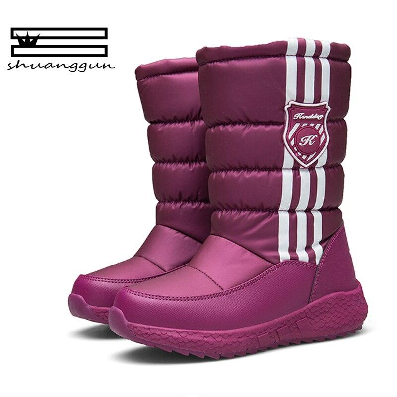 93b469b2acaa Children Boots Boys   Girls Snow Boots Princess Hook   loop Platform Kids  Winter Shoes waterproof non-slip For 3-12 Years Old