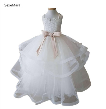 Real Picture Puffy Organza Ball Gown Girls Dresses for Wedding Layered Lace Top with Ribbon Kids Birthday Dress Prom Gown