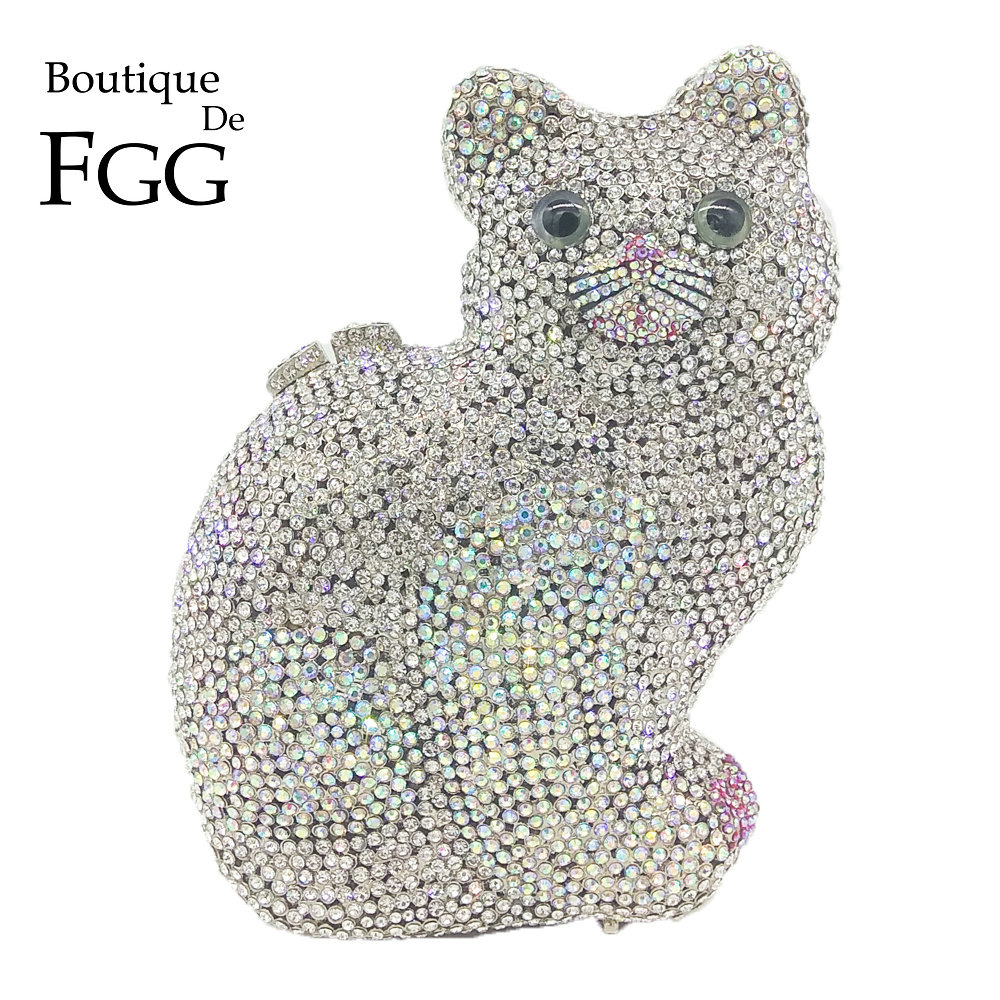 Boutique De FGG Shiny Crystal AB 3D Cat Shape Women Crystal Evening Minaudiere Bag Wedding Dinner