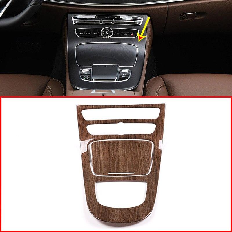 Walnut Wood Grain For Mercedes Benz E Class W213 2019 Year ABS Plastic Console Gear Panel