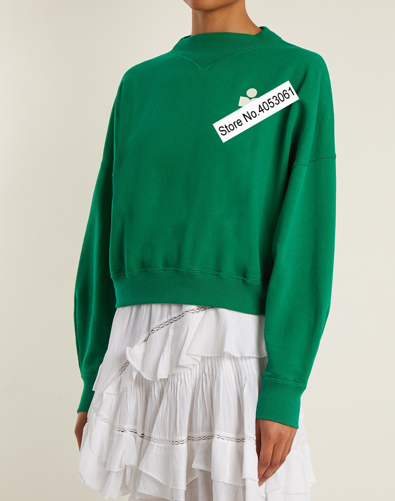 2019 New Cotton Contrast Letter Flocking Sweatershirt Green Red Women Round Neck Long Sleeve Pullover Top