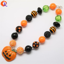 2Pcs/Lot Fashion Jewelry Halloween Design Necklaces Jewelry Chunky Bubblegum Beads Necklace With Pumpkin Pendant For Kids Gift