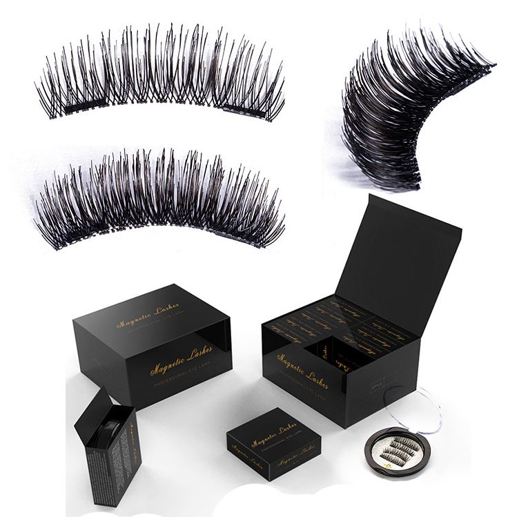 JIEFUXIN Magnetic Eyelashes Natural False Eyelashes Magnetic Lashes Reusable Eye Lashes 3D Comfortable Makeup Extension Gift-box