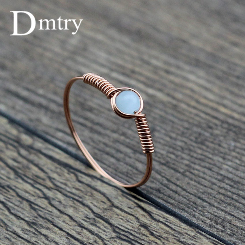 Dmtry Design Fashion Jewelry Rose Gold 4mm Opal Stone Wire Wrap Wedding Rings For Women Men The Black Friday Mothers CR0024