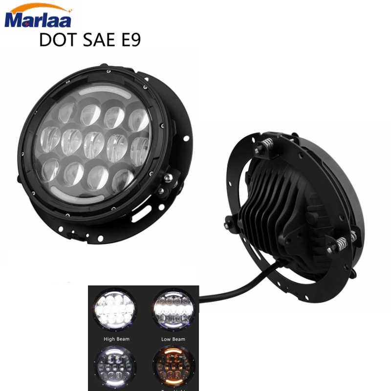 2PCS 7 Inch LED Headlight with White/amber Turn Signal DRL with bracket Ring Mounting for Jeep Wrangler Jk Tj Harley Davidson 1 pair 60w 7 inch round led headlight with white amber turn signal drl for jeep wrangler jk tj harley davidson