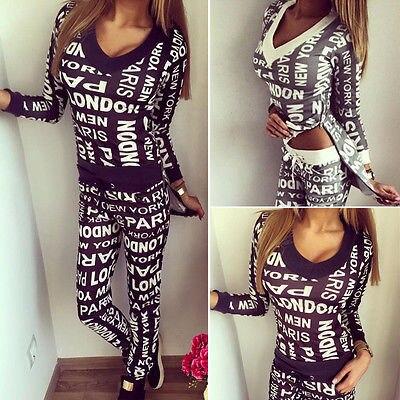 2Pcs Lady Women Tracksuit Hoodies Sweatshirt + Pants Set Wear Casual Suit