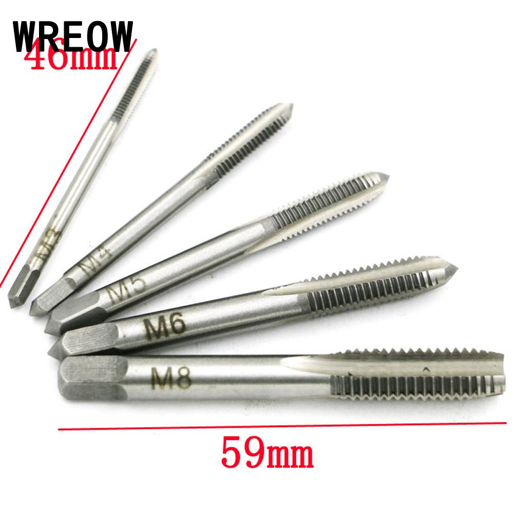 5Pcs Tapping Hand Screw Thread Hole Metric Plug Straight Flute Tap Drill Bit Set Grinding Carving Tool M3/ M4/ M5/ M6/ M8