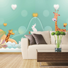 Custom 3d wallpaper modern minimalist cartoon rabbit childrens room wall - silk waterproof material