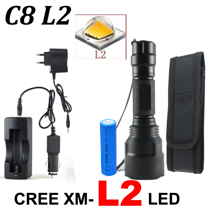 CREE C8 8000 lumens CREE XM-L T6 L2 high power LED Flashlight +DC/Car Charger+2*18650 battery+Holster LED Torch Light Lamp tinhofire 6870 cree xm l 2 2000 lumens l2 led flashlight torch light lamp micro usb input 5v charger with battery