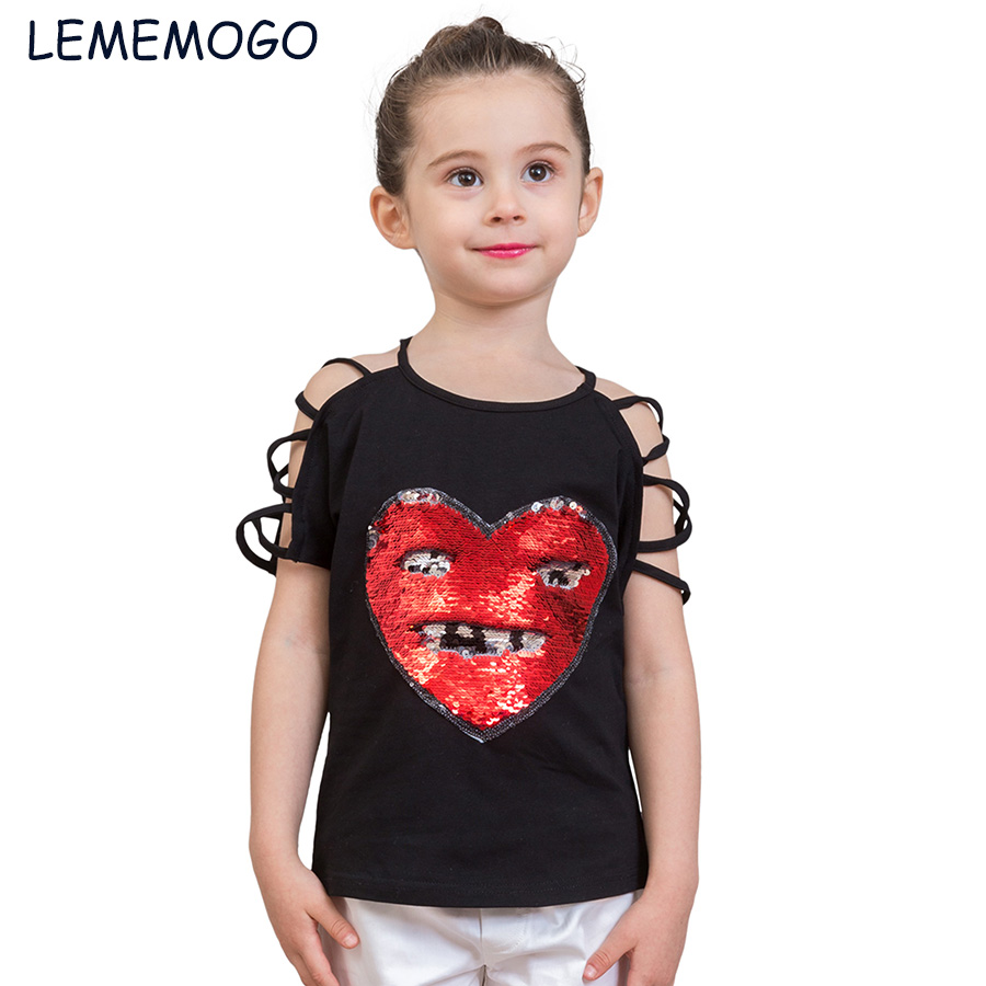 lemogo 2-8Y Fashion Girls Sequins T-shirts Tops Discoloration Cotton Summer 2018 Girl Short Sleeves Tshirt Kids Children Clothes free shipping old first of the same name paintings chinese edition book for adult