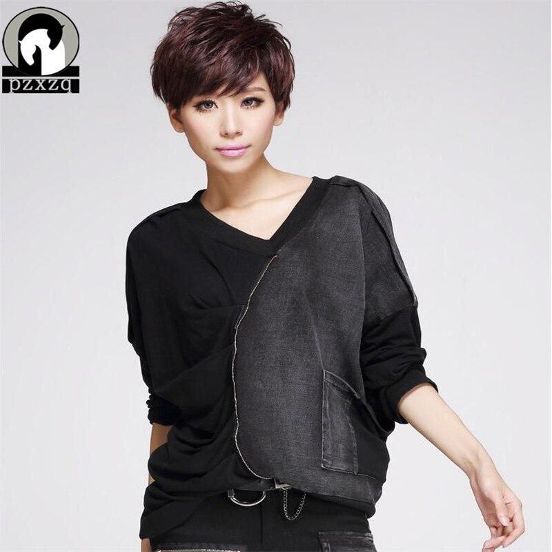 Harajuku womens tops fashion 2017 Plus size Chiffon shirt women Sexy black Denim Full tops street