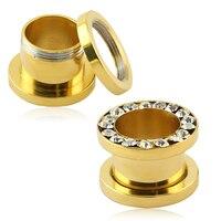 Flesh Tunnel Ear Gauges Piercing Gold Stainless Steel Zirconia Crystal Stones Screw Fit Ear Plug 1pair