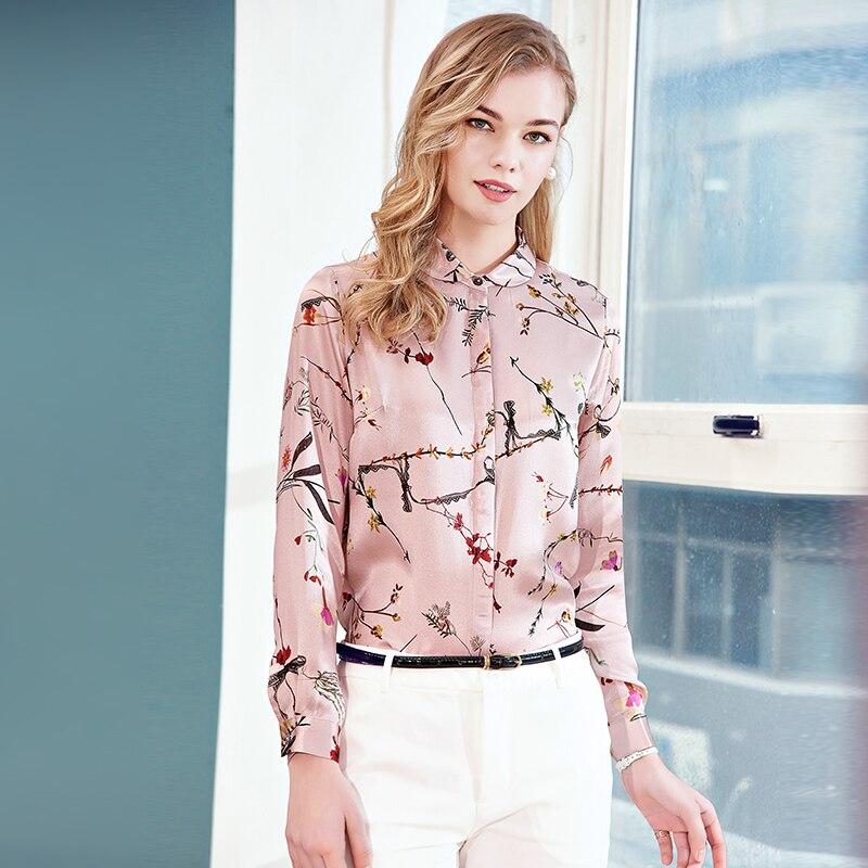 Женская шелковая рубашка Длинные рукава новый сезон весна лето 2018 мода печати Тонкий темперамент шелковые блузки рубашки женские