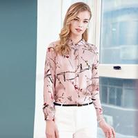 Female silk shirt long sleeve new spring and summer of 2018 fashion printing slim temperament silk blouses shirts ladies
