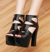 New fashion rough with the fish head shoes Nightclub shoes 15CM high with zipper Hollow sandals