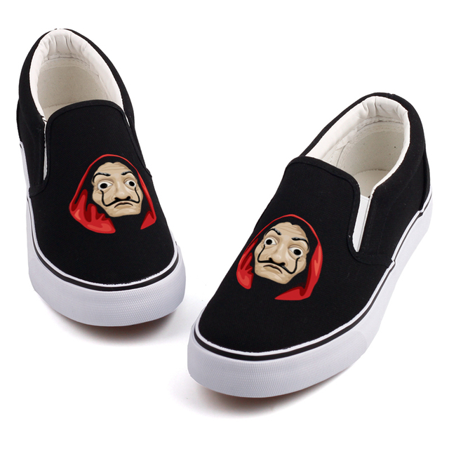 6aa764680ed9 Cool Halloween Mask Printed Loafers Shoe Graffiti House Paper Cosplay La Casa  De Papel Movie Star Canvas Shoes Customize Slip On