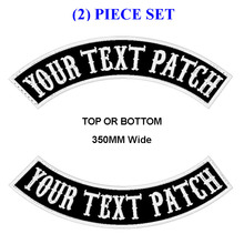 CUSTOM EMBROIDERED MC ROCKER PATCH 350MM WIDE TOP OR BOTTOM 2 PCS MOTORCYCLE BIKER VEST CUT
