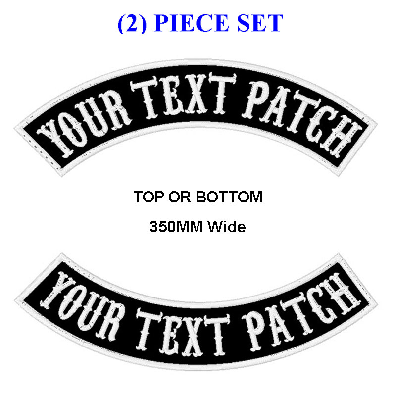 Personalizado bordado mc rocker remendo 350mm de largura superior ou inferior 2 pces motocicleta motociclista colete corte