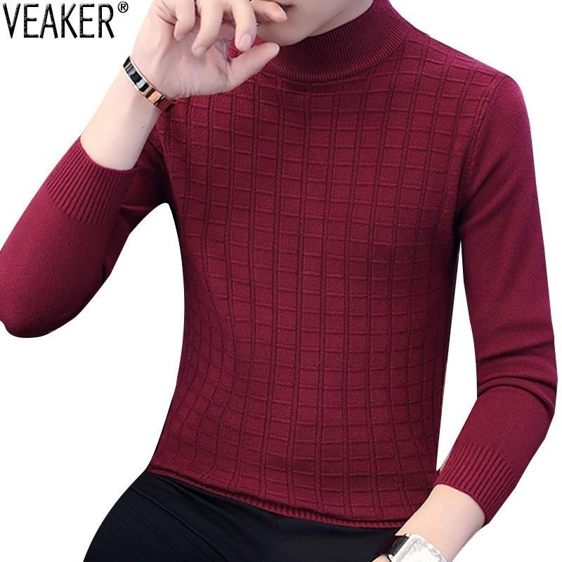 2018 Herbst Neue Herren Rollkragen Pullover Männlichen Plaid Gestrickte Pullover Pullover Casual High Neck Strickwaren Pullover M-3xl FüR Schnellen Versand