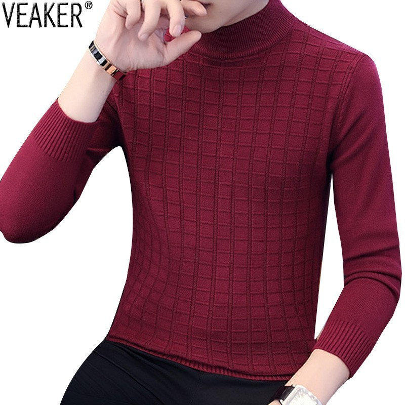 2019 Autumn New Men's Turtleneck Sweater Male Plaid Knitted Pullover Sweaters Casual High Neck Knitwear Sweater M-3XL