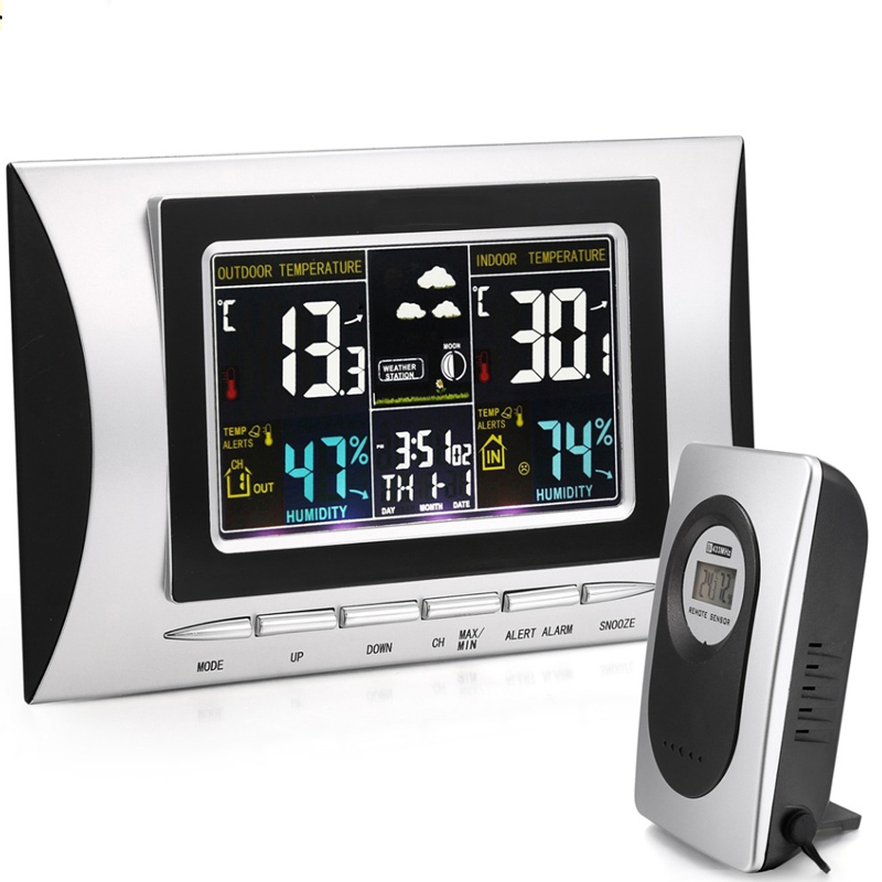 Wireless Weather Station Digital Color Lcd Thermometer Forecaster Clock Indoor Outdoor Humidity Meter With Remote Sensor