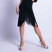 2019 New Latin Dance Fringe Skirt Female Irregular Skirts Ballroom Cha Cha Women Dance Practice Costume Sexy Half Skirt DL3917