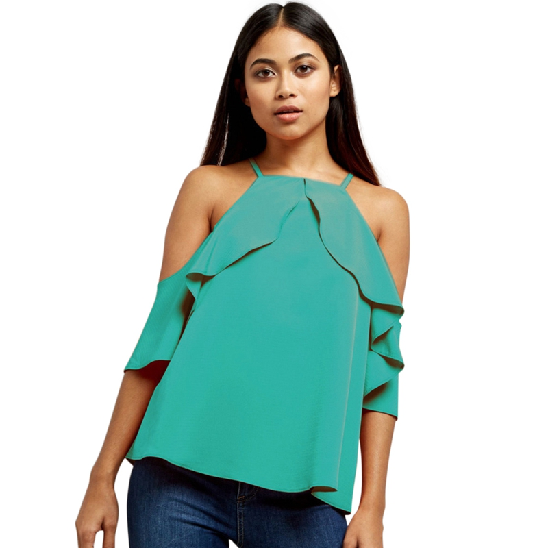 New Casual Chiffon Blouse Shirt Women Cold Shoulder Clothes Tops Fashion Ruffle Blouse Ladies Loose Summer Hollow Out Tops 2XL