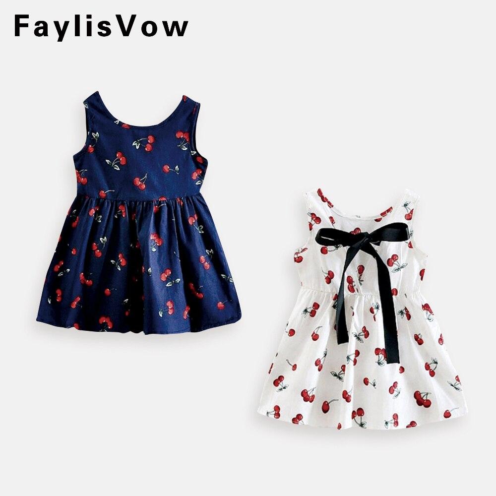 Cute Print Children Princess Dresses Baby Girls A-Line Lovely Sleeveless Summer Dress Kids Girls Cotton Bow Decor Clothes