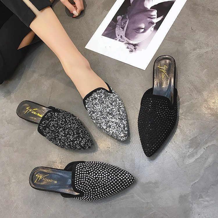 Crystal Bling Fashion mules 2019 summer
