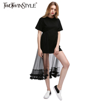 TWOTWINSTYLE 2017 Tulle Summer Short Dress T Shirts Female Lace Black Mini Dresses for Women Casual Ruffles Clothing Korean