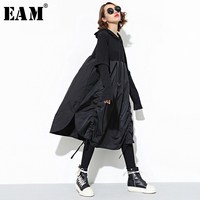 [EAM] 2019 New Spring Hooded Long Sleeve Drawstring Black Fold Split Joint Loose Long Dress Women Fashion Tide JD07601