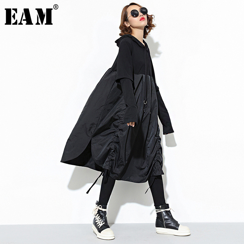 [EAM] 2020 New Spring  Hooded Long Sleeve Drawstring Black Fold Split Joint Loose Long Dress Women Fashion Tide JD07601
