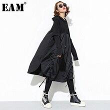 [EAM] 2020 New Spring  Hooded Long Sleeve Drawstring Black Fold Split Joint Loose Long Dress Women Fashion Tide JD07601
