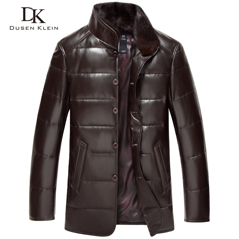 Дюсенов KLEIN Кожаные пуховик Мужская Роскошная натуральная кожа высокого качества мужские овчины зимняя куртка черный/коричневый DK075