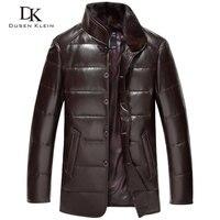 Luxury Down Coat Men Genuine Sheepskin Leather Jackets Brand 2015 High Quality Winter Jacket Black Brown