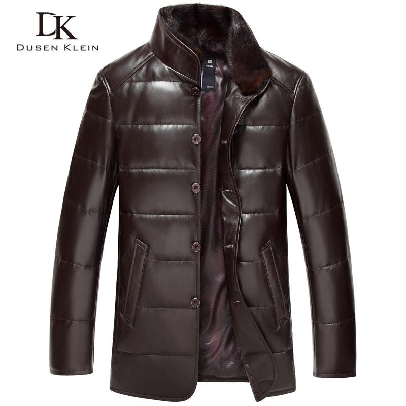 Dusen Klein in pelle Imbottiture Cappotto degli uomini Del Cuoio Genuino di Lusso di Alta qualità mens pelle di pecora giacca Invernale Nero/Marrone DK075