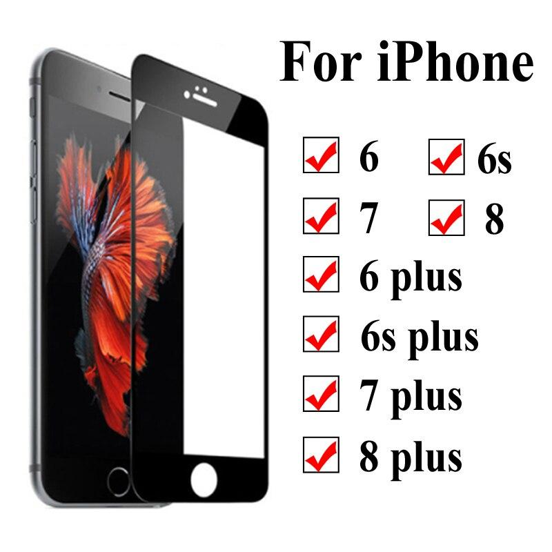 Vidro de proteção no para o iphone 7 8 6 s plus temperado glas aphone aifon 8 7 6 s plus plus screenprotector filme folha de verre trempe cam