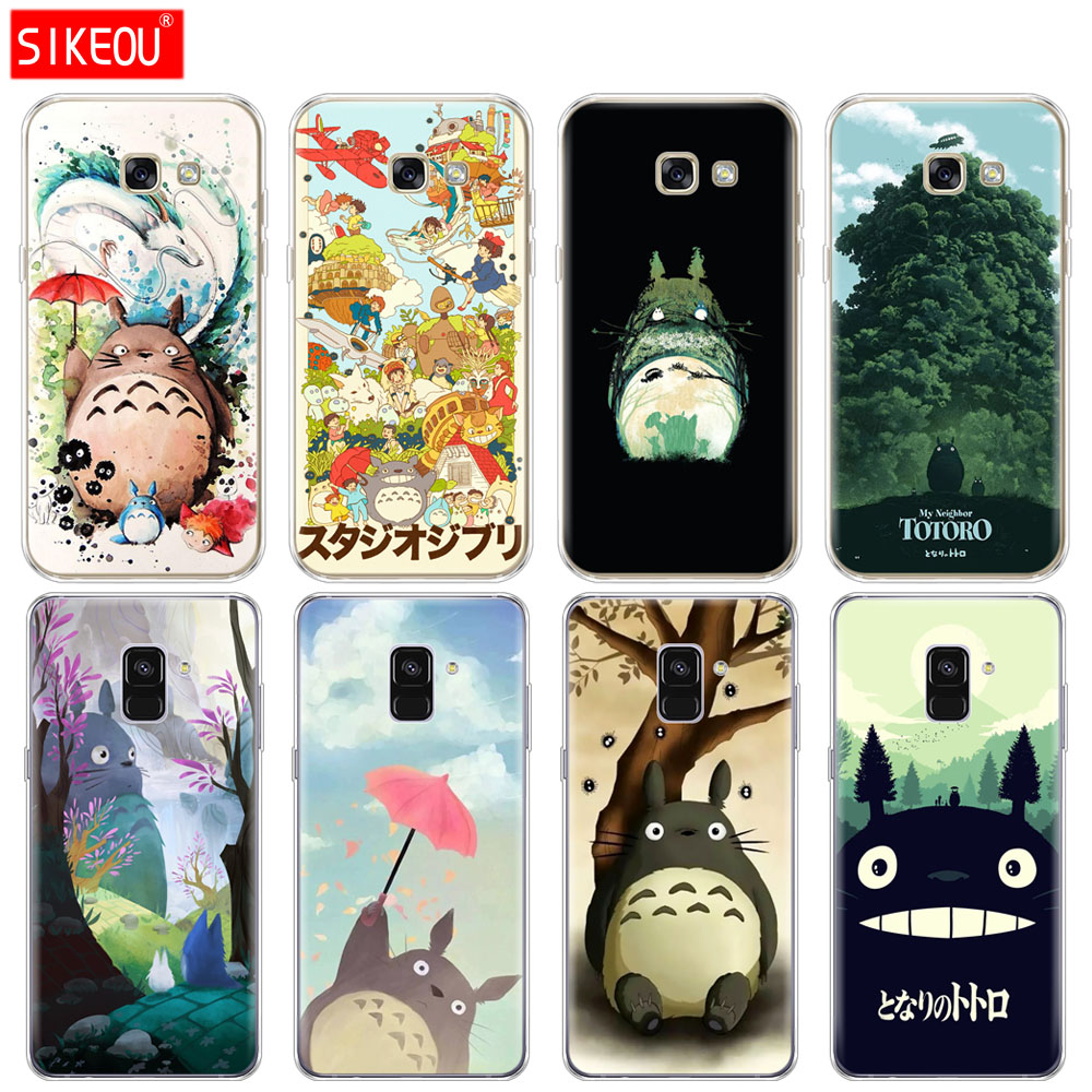 Silicone <font><b>phone</b></font> <font><b>case</b></font> cover for <font><b>Samsung</b></font> Galaxy A8 2018 A3 A310 <font><b>A5</b></font> A510 A7 <font><b>2016</b></font> 2017 My Neighbor Totoro Anime image