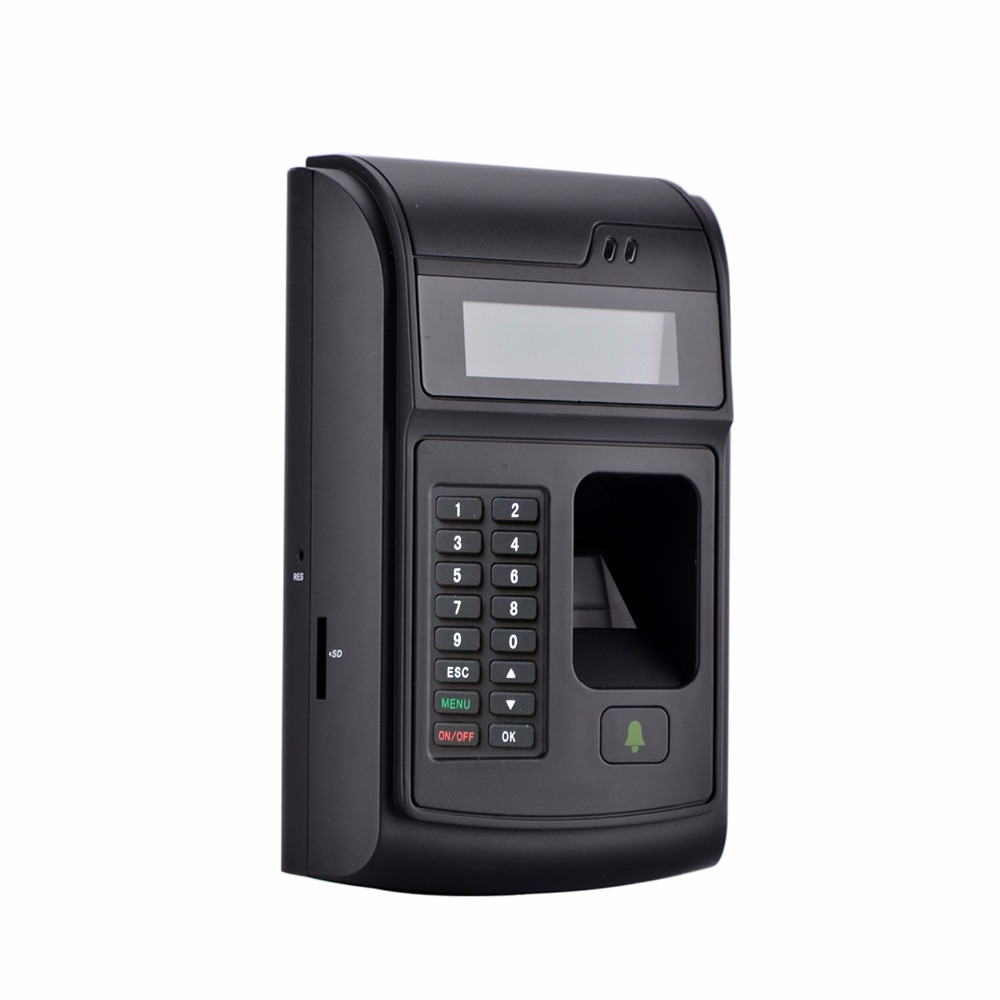 LCD Biometric PIN Code 125KHz RFID ID Card Reader Door Lock Fingerprint Access Control With USB / Door Bell Button Brand NEW 125khz rfid card access control video door phone system wired 7 inch color screen video door bell with rfid card reader