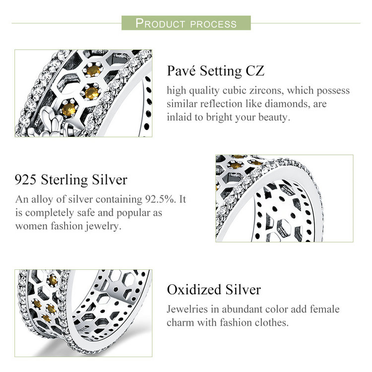 Genuine 100% 925 Sterling Silver Trendy Bee & Honeycomb Clear CZ Finger Rings