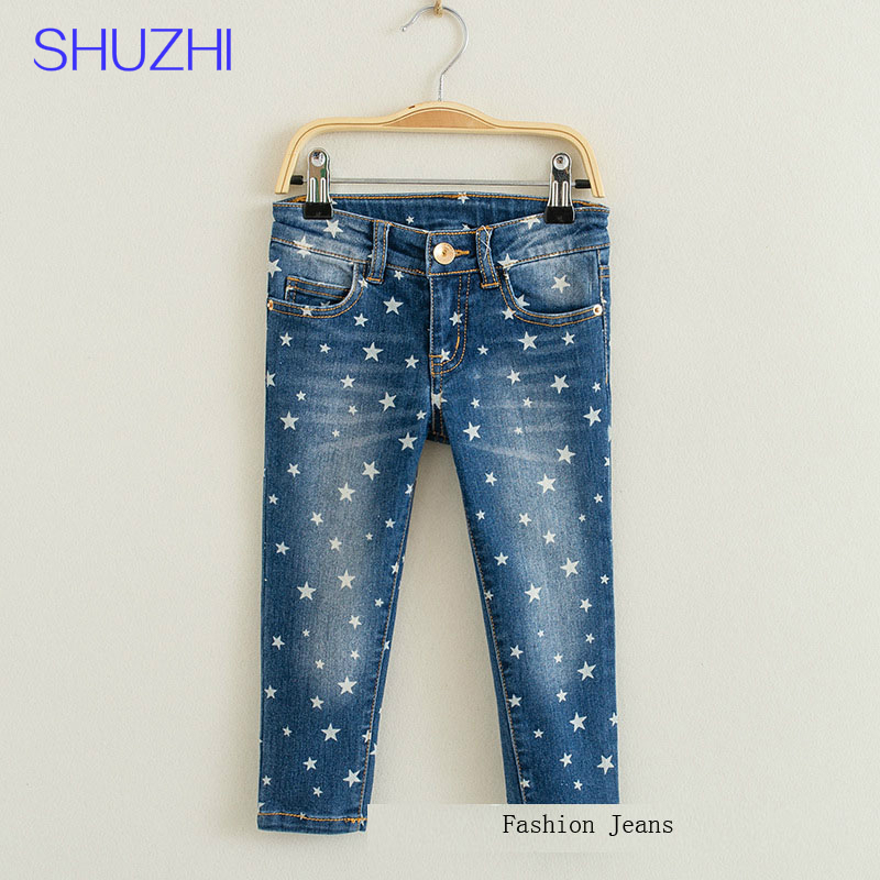 SHUZHI Fshion baby boys girls jeans spring autumn Stars Print Kids jeans Zipper Fly Straight Jeans for Boy girl Jeans Pants