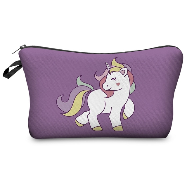 Unicorn print cosmetic bag