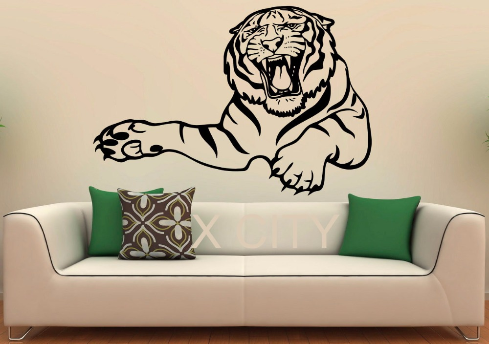 A Bust Of Tiger Wall Decal Vinyl Stickers Wild Cat Pride Animals Home Interior Design Art Office Murals Bedroom Decor