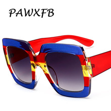 PAWXFB Luxury Italy Brand Designer Oversized Square Sunglasses Women Retro PC Frame Eyeglasses Lentes de sol GG0178 Shades 400UV